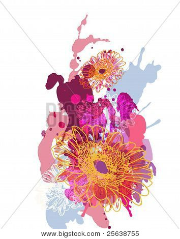 Abstract Image With Flowers