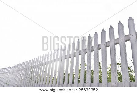 White fence in perspective.