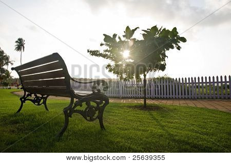 An old bench in the park at against sunset.