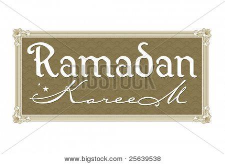 Ramadan greetings in english script. Translated from arabic as 'Ramadan Kareem'.