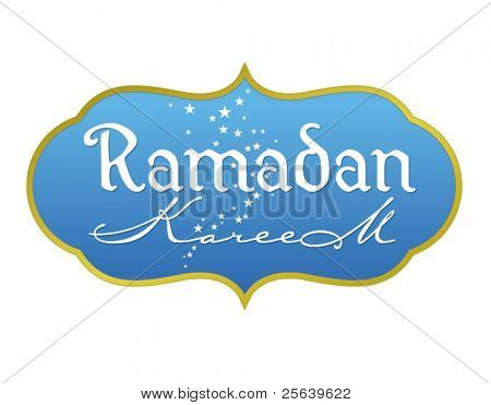 Ramadan greetings in english script. Translated from arabic as 'Ramadan Kareem'. Vector illustration.