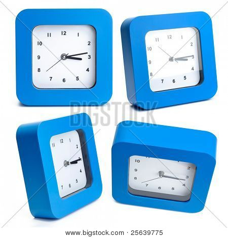 A blue wall clocks from various angles.
