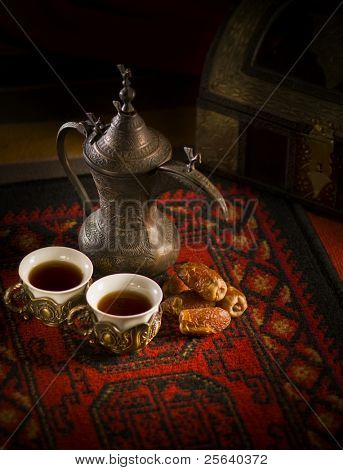 Arabic coffee and dates set up.