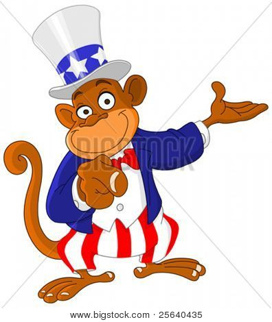 Pointing monkey dressed as Uncle Sam icon I want you