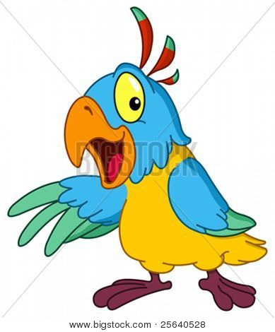 Cartoon parrot presenting with his wing