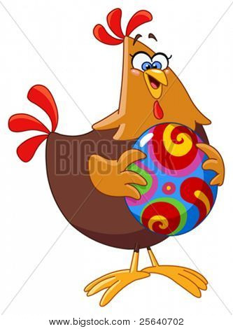 Cartoon chicken holding an easter egg