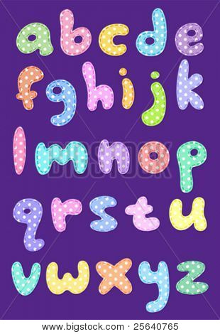 Polka dot lower case alphabet with stitches