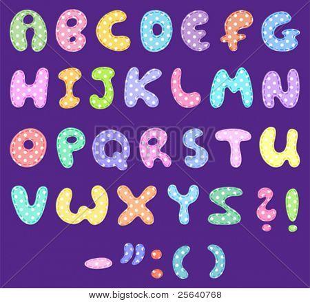 Alfabeto de lunares con puntos de sutura
