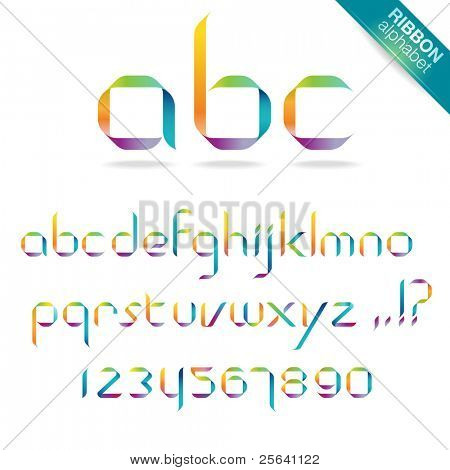 Rainbow ribbon alphabet