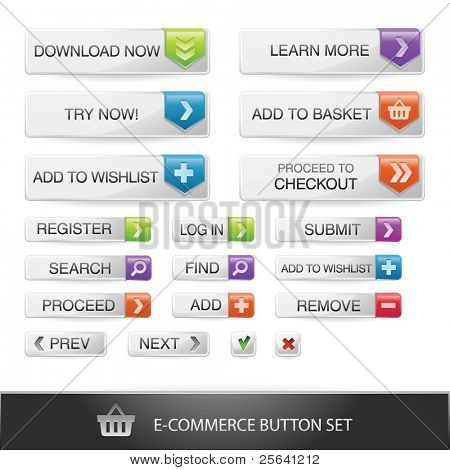 E-commerce web button set with transparent shadows