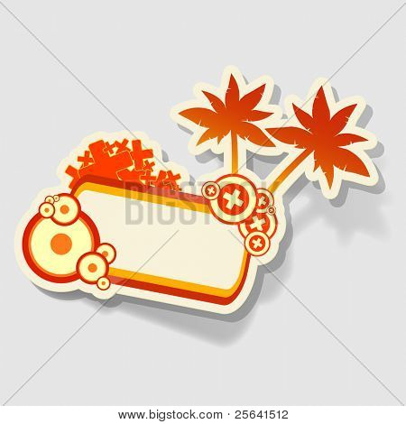 beach sticker with space for text