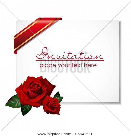 white greeting card with rose and ribbon