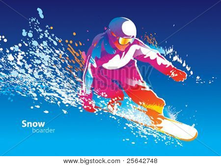 The colorful figure of a young man snowboarding on a blue sky background. Vector illustration.