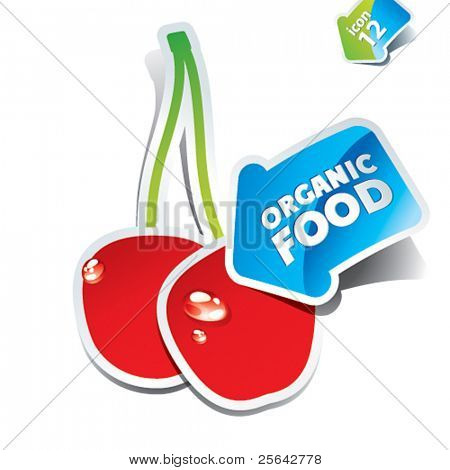 Icon cherry with an arrow by organic food. Vector illustration.