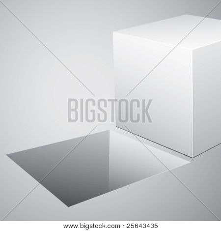 3D cube on a white background. Vector illustration.