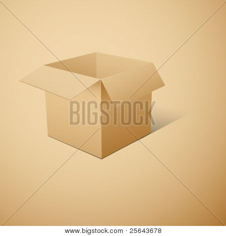 Cube-shaped Package Box. Vector illustration