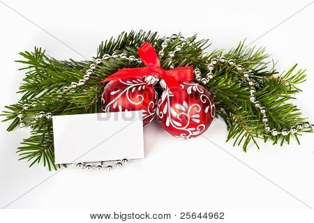 Christmas Tree With Red Balls And Greeting Card