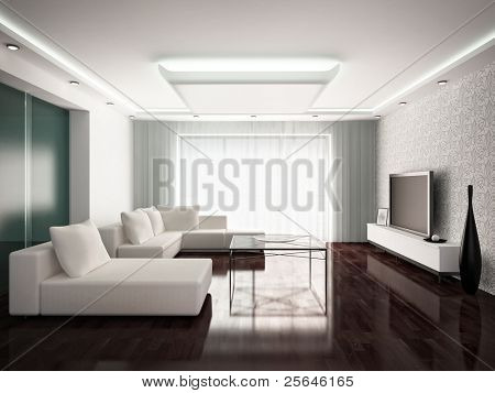 modern interior design of living-room in monochrome tones, 3D render