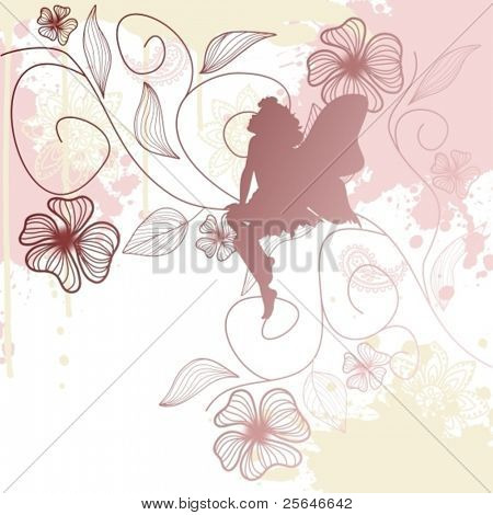 Delicate fairy shape with flowers, vector illustration
