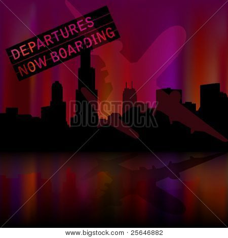 Chicago skyline background with airplane