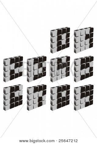 3D Vectorized las cifras del 0 al 9 en la gamma de gris
