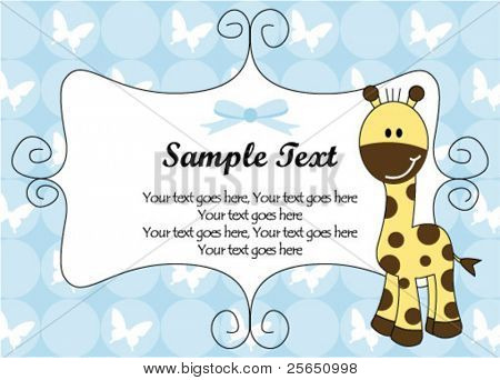 Cute boy giraffe frame