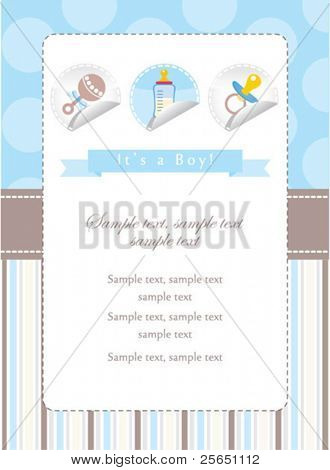 Baby boy stickers collection on card