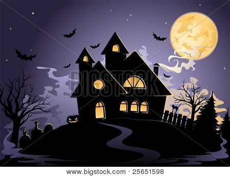 Misteriosa casa en la noche de Halloween