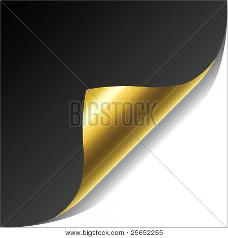 vector illustration black note with gold page corner