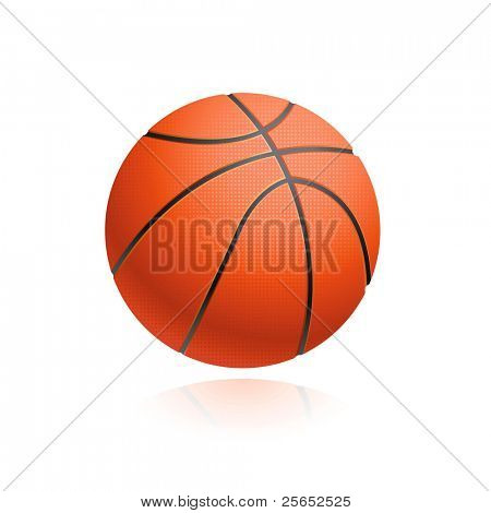 Vector basketball ball isolated on white.