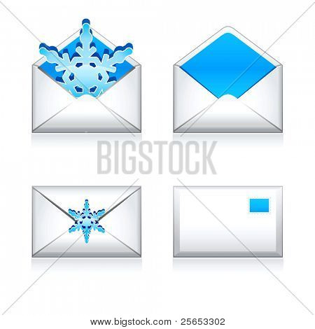 Set vector  e mail icon with snowflake.