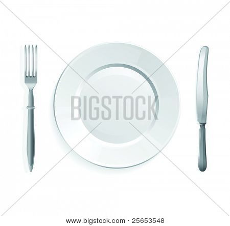 Vector illustration of knife, fork and white plate,isolated on white background.