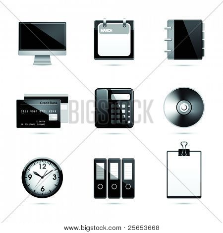 Set office end business black icons.