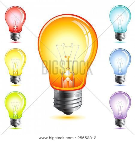 Set realistic vector illustration of a light bulb isolated on white.Rainbow.
