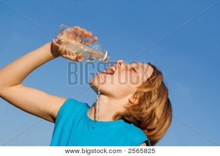Thirsty Child Drinking Water