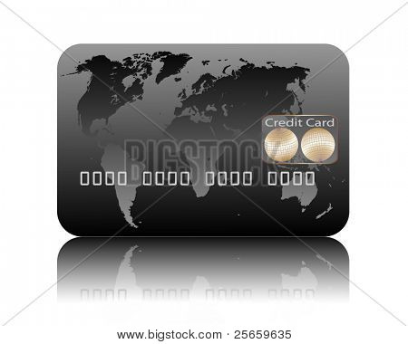 Illustration of credit card on a white background. Vector.