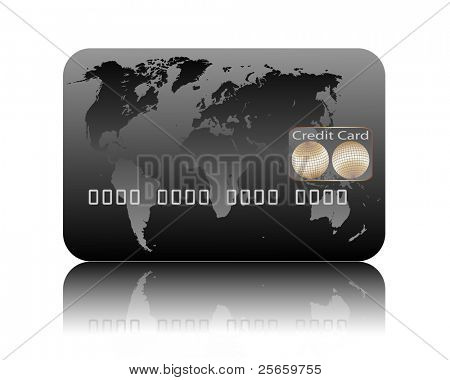 Illustration of credit card on a white background.