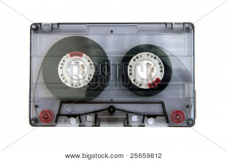 Audio casette isolated on a white background.