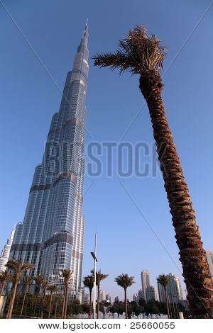 DUBAI, UNITED ARAB EMIRATES - MARCH 21: View at Burj Khalifa in Dubai, on March 21, 2011. The highest building in the world, height of skyscraper 828m.