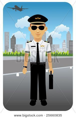 Pilot in uniform at an airport.