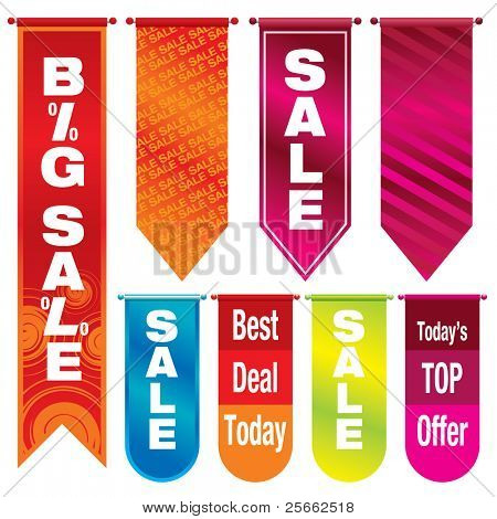 Vector illustration of colorful sale banners
