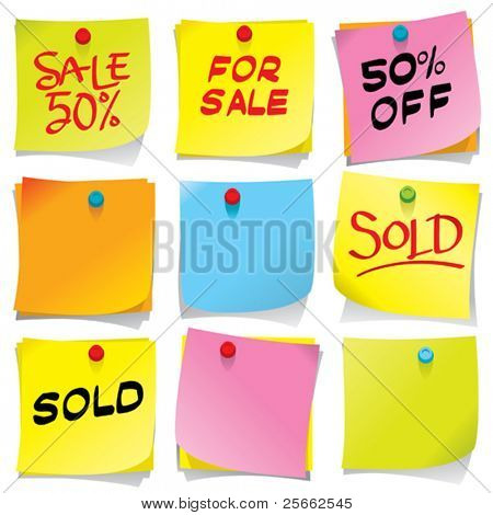 Bright colored sticky notes