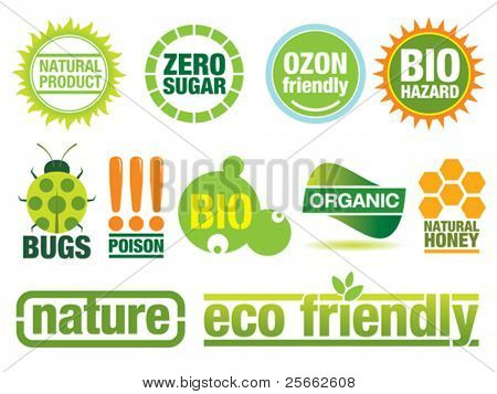 Ecology themed icon set. Use to create buttons, labels and brochures