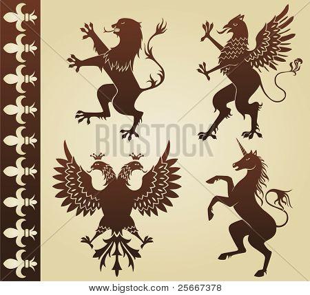 highly detailed heraldic animals