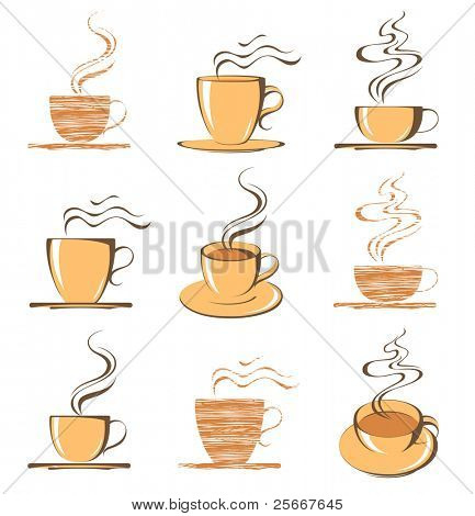 set of coffee cup icons