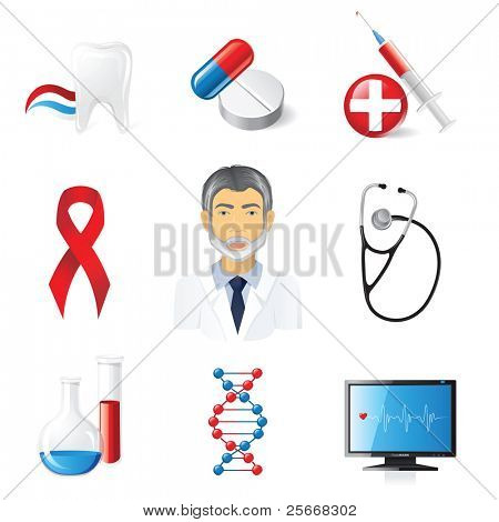 9 highly detailed medical icons set