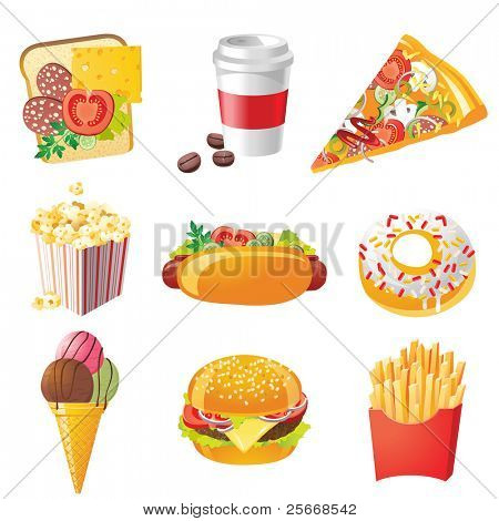 9 realistic fastfood icons