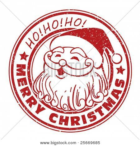 isolated grunge Christmas stamps on white background