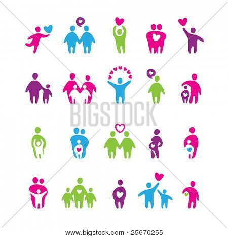 set of icons - love and family