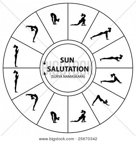 Yoga - a set of exercises. The morning sun salutation.